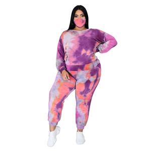 Sin espalda Tie Dye para mujer Outsuits Plus ahueca hacia fuera los sistemas atractivos de diseño del resorte ocasional de las mujeres la ropa del otoño de 2 Piezas