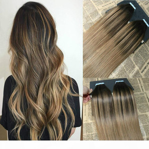 Ombre Color #2 Dark Brown fading to #6 Balayage Skin Weft Human Hair Extensions Tape in Extensons Slik Straight 40Pcs Tape on smooth Hair