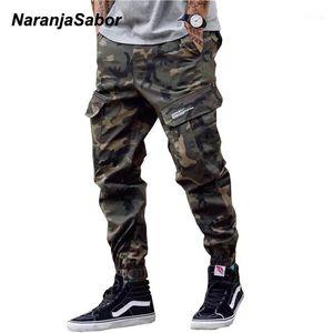 Naranjasabor Mens Camo Tooling Stying Pantalones 2020 Spring Camuflage Multi Bolsets Pantalones Masculinos Marca Ropa más Tamaño 46 N6461