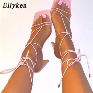 Eilyken été Gladiator Sandales Femmes cheville Croix Bracelet Talons Chaussures Femme New Fashion Square Toe Sexy Party Chaussures pour femmes 0928