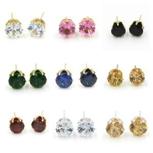 Серьги-шпильки Оптовая мода круглый любимый дизайн 8 мм золотые серебристые шипованные кристаллы конфеты алмазные серьги для женщин