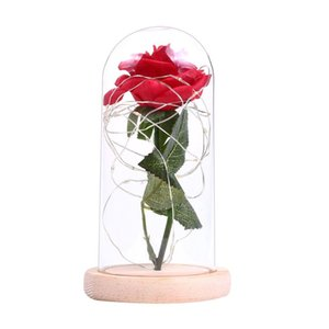 LED Rose Flower String Fairy Light Bottle Night Lamp with Glass Cover Romantic Wedding Decor Birthday Gift No battery delivery