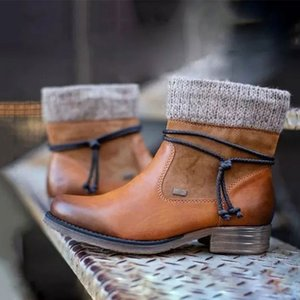 Snow Boots Women Retro Ladies Ziper Leather Ankel Boots Woman Platform Punk Booties Thicken Plush Female Winter Shoes 201021