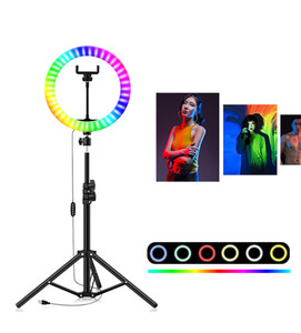 8inch 10inch 10Inch RGB LED Selfie Ring Fill Light with Tripod Stand Photography Dimmable Ring Lamp for TikTok Youtube Makeup Video Lights