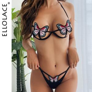 Ellolace 나비 란제리 브라 세트 중공 아웃 섹시한 브라 파티 여성 란제리 여성 속옷 섹시한 에로틱 한 란제리 C1114을 설정