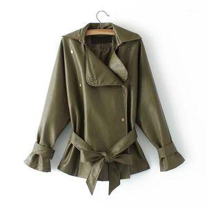 Kobykoyi Kadınlar Sonbahar Bombacı Ceket Kaban Moda Sokak Yıkanmış PU Deri Dantel-up Ceket Kadınlar Için Coat Chaqueta Mujer1