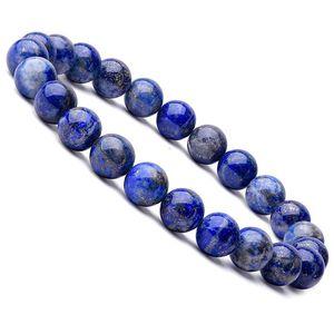 2020 Handmade Lapis Lazuli Beaded Bracelets for Women Men Fashion Natural Stone Energy Bracelet Elastical Jewelry Gift
