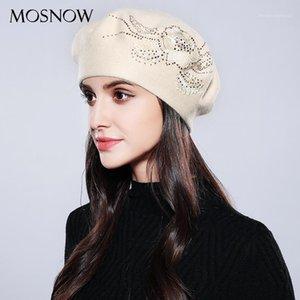 Mosnow Bonnet Femme Mulheres Beret Algodão Lãs Brand New Fashion Fashion Flor Outono 2020 Inverno Bonés Para Mulheres Caps # MZ7411