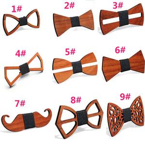 9 Stili Vintage Rosso Rosewood Bow Tiovello Hollow Hollow Bow Tracco Gentleman Wedding Bowl Thiera di legno Accessori moda HWD3964