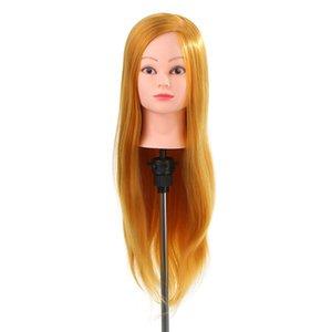 24-дюймовая головка 50% настоящих человеческих волос обучение головой парикмахерская парикмахерская головка + зажим держатель для парикмахерской практики золотой желтый W3057