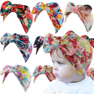 Toddler Newborn Baby Bowknot Hats Big Bows Head Wrap Caps Floral Headband Infant Headwrap Beanies Stretchy Hair Band Hair Accessories G10507