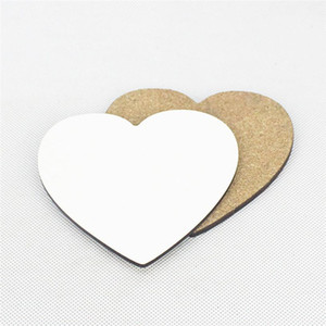 Sublimation Blank Heart Shape Valentines Day Thick Wooden DIY Gift Cup Mat Customized Desk Decoration Cup Pad for Coffee Mug Water Bottle
