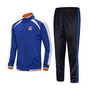 20 21 Olympique Lyonnais Football Club Top Running tracksuit Jacket Leisure Training Suits Outdoor Sportswear Jogging Wear Adult Tracksuts