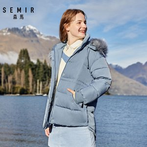 SEMIR Hair collar down jacket women winter hat detachable loose hooded girl jacket thicken comfortable warm down coat woman 201020