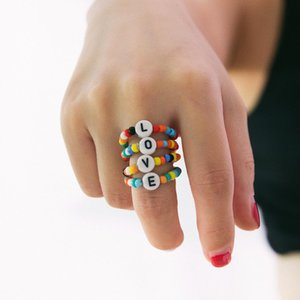 Female Fashion Love Handmade Ring Stone Women 4pcs Set Natural Colorful Rings For Stretch Set Beads tsetMJg whole2019