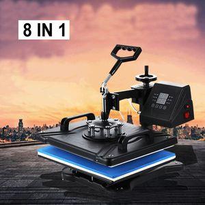 8 في 1 آلة التسامي التحرير والسرد 30 * 38 سنتيمتر diy multiuse نقل آلات نقل الحرارة القدح شيرت كاب لوحة آلة الصحافة الحرارة