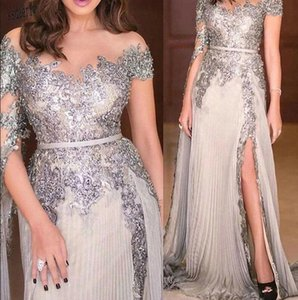 Modest Silver Prom Dresses Long Sleeves Sheer Neck Lace Applique Sequins Beaded Side Slit A Line Ruched Pleats Evening Gowns Mother Dress