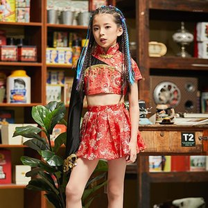 Chicas Jazz Dance Costume Chinese Style Gatewalk Mostrar traje niños elegante rojo Hanfu Chino Folk Dance DQL12551
