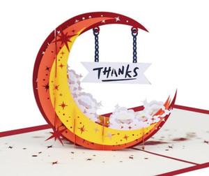 10pcs 3D Moon Girl Thanks Handmade Kirigami Origami Wedding Party Invitation Cards Greeding Birthday Card Postcard