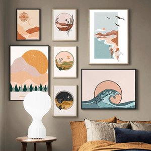 Paintings Abstract Landscape Posters Prints Mountain Sea Forest Canvas Painting Sun And Moon Wall Pictures For Living Room Boho Decor