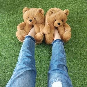 여성 홈 실내 부드러운 안티 슬립 가짜 모피 귀여운 슬리퍼 겨울 따뜻한 신발 만화 플러시 테디 베어 슬리퍼 EUR 36-40