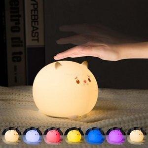 Çocuk Kız Arkadaş Doğum Günü Hediyeleri için başucu lambası Şarj Sevimli Kedi Gece aydınlatması LED Dim Timer Dokunmatik Sensör Çok Renkler USB