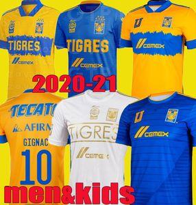 2020 2021 Mundial De Clubes Uanl Tigres Gignac Soccer Trackss Men Kids Kits 20 21 Варгас Домой Выезд Третий Pizarro Мексики Футбольные рубашки