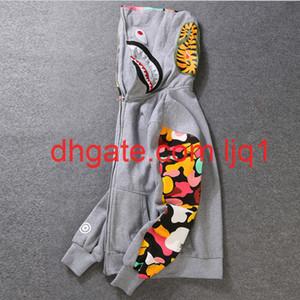 Neue Herrenkleidung Hoodies Jacke grau Camouflage Shark Print Männer Mode Baumwolle Mit Kapuze Sportswear Innere Fleece Hoody Sweatshirt