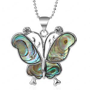 New Zealand Butterfly Pendants Natural Paua Abalone Shell Pendant Necklace Gem Stone Rhinestone Bead Women Men Jewelry
