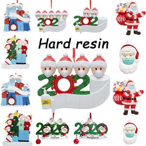 72 horas Free Air Frete, Resina Christmas Pingente Preço Atacado DIY Nome Saudações Personalizado Home Decoração 2020 Decoração de Quarentena