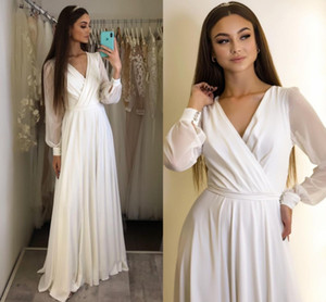 Wedding Dress V-Neck 2021 Long Sleeve Chiffon Side Slit Floor Length Simple Bridal Gowns Robe De Mariee Beach For Women White Vestidos