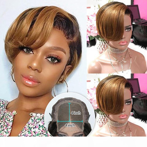 4X4 Ombre Pixie Cut Wig Colored Lace Front Human Hair Wigs Preplucked Short Lace Bob 150% Brazilian Remy Honey Blonde 1B 27 Wig