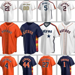 Custom Astros Jerseys 27 Jose Altuve Béisbol 5 Jeff Bagwell Craig Biggio Alex Bregman Justin Verlander Carlos Correa George Springer