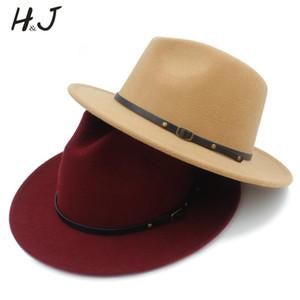 Geniş Brim Trilby ile% 100 Yün Kadın Erkek Outback Fedora Şapka Caz Godfather Cap Szie 56-58CM K20 Keçe