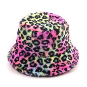 Oloey Autumn Fur Colorful Leopard Print Bucket Hats Women Fashion Warm Basin Hat Caps Casual Streetwear Fisherman Hats