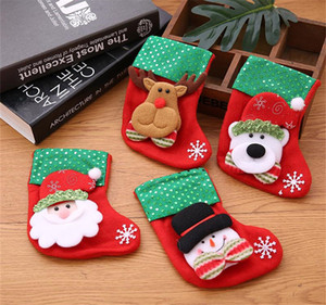4 PCS Mini Christmas Stockings Gift & Treat Bag, for Favors and Decorating