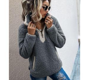 Women Sherpa Sweater Teddy Fleece Pullover Half Zipper Sherpa Fleece Tops Female Winter Warm Coat 2019 Teddy66