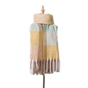 Hot Sale-2020 Winter Braid Tassel Wrap Scarves shawls contrast color scarves neckerchief for women Fashion accessories gift drop ship