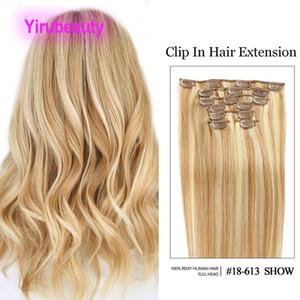 Peruano 18/613 Clip de color de piano en extensiones de cabello 1b / 613 12/613 4/27 Straight 100% Human Hair Products Clip en Remy Straight