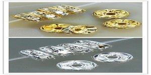 الفضة الأبيض الخرزة مطلية بالذهب للحصول على سوار HOTSALE فاصل مجوهرات 500PCS / الكثير اليدويه الذهب 8MM فاصل Rondelle النتائج كريستال bbyQM mj_fashion