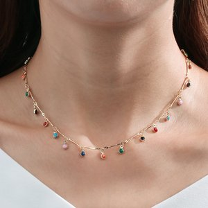 S1841 Hot Bohemian Fashion Jewelry Colorful Beads Dangle Necklace Choker Necklace