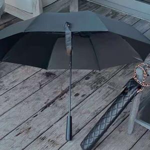 Nuevo Classic Black Paraguas Largo Plegable para las mujeres Pliegue de verano Moda Umbrella Umbrella VIP Regalo con estuche de PU Embalaje de regalo