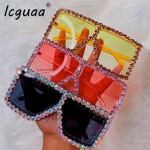 Lunettes de soleil surdimensionnées cristal femmes Lunettes de soleil carrées Lunettes de soleil pour strass bling femme luxe mode ombre UV 400