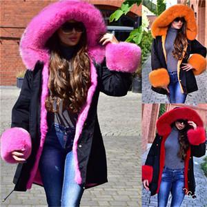 Флисовые женские парки плюс размер свободные зимние теплые пальто мода повседневный искусственный кролика воротник с капюшоном женские куртки