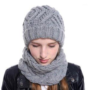 القبعة التريكو النسائية، مريلة، مجموعة من قطعتين، الخريف والشتاء نمط جديد 2020 قبعة الصوفية الأزياء و scarf set1