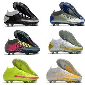 Phantom GT Dinamik Fit Elite FG Erkek Futbol Ayakkabıları Açık Futbol Kelepçeleri Firma Zemin Deri Eğitmenler Spike Yüksek Ayak Bileği Çorap Soccer Boots