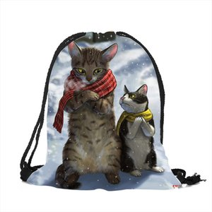 Excellent Cartoon 3D Scarf Chubby Cat Printing Design String Backpack Polyester Easy Carry Drawstring Bag Teenager Casual Bags