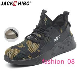 JACKSHIBO été Chaussures de sécurité pour les hommes respirante Anti-fracassant Bottes de sécurité Construction Chaussures de travail Homme Puncture