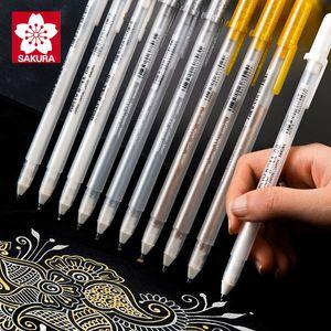 3 pezzi Lotto di Sakura Gelly gel giapponese Ink Pen oro bianco e argento inchiostro gel Pen Set metallo Schizzo Highlighter Pen Drawing