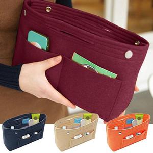 Mujeres portátil fieltro tela monedero bolso de mano gran capacidad organizador bolsa multi bolsillo inserto convenio cosas soldies cosméticos bolsa